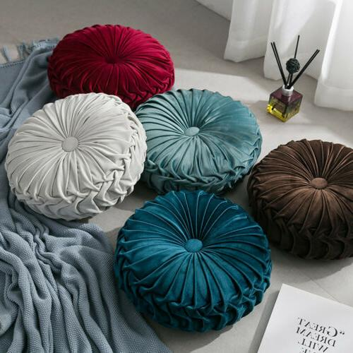 Velvet Round Pleated Pouf Cover Throw