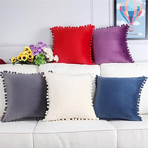 Top Finel Decorative Covers Square With Balls For Bed Pack 18x18