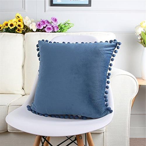 Top Finel Decorative Covers Luxury With Balls Bed 18x18 Inch, Navy