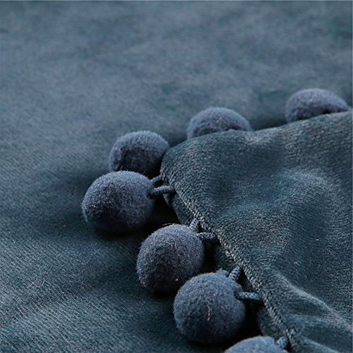 Top Velvet Soft Covers With Balls For Bed 2 18x18 Inch, Navy
