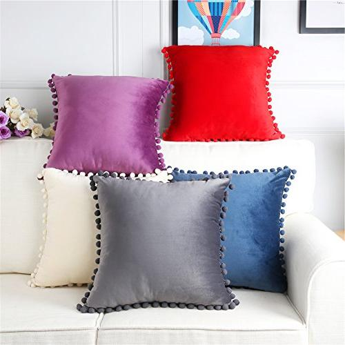 Top Velvet Soft Covers Luxury Square With Balls 18x18