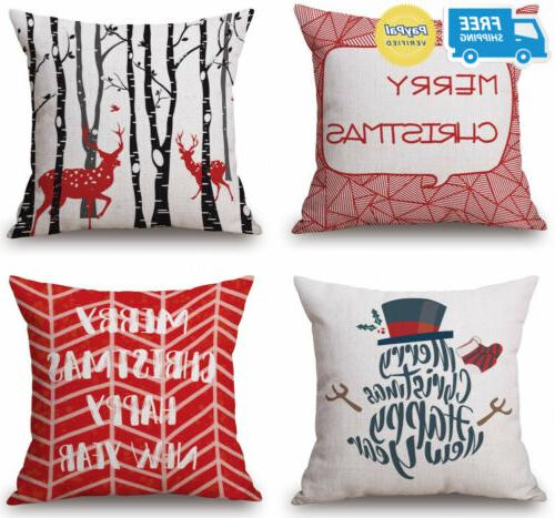 vibrant red christmas throw pillow covers set