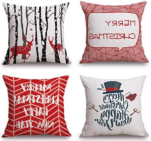 vibrant red christmas throw pillow