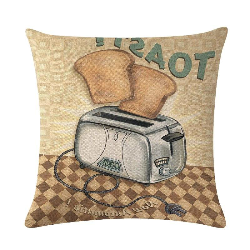 Vintage <font><b>Kitchen</b></font> Pillowcase Cotton Linen <font><b>Throw</b></font> 45x45cm Decor Cover