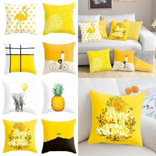 Yellow Polyester Sofa Throw Cushion USA
