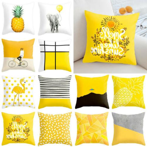 yellow polyester pillow case sofa car waist
