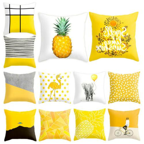 Yellow Polyester Sofa Car Cushion Cover