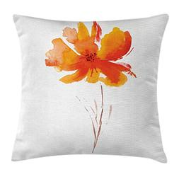 Ambesonne Landscape Throw Pillow Cushion Cover, Single Poppy