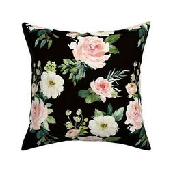 Large Floral Florals Blush Throw Pillow Cover w Optional Ins