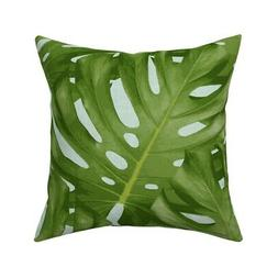 Large Monstera Leaf Summer Throw Pillow Cover w Optional Ins