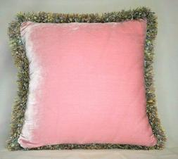 large solid pink silk velvet decorative throw