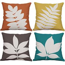 YeeJu Set of 4 Leaf Throw Pillow Covers Decorative Cotton Li