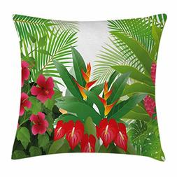 Ambesonne Leaf Throw Pillow Cushion Cover, Tropical Exotic F