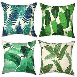 YOUR SMILE Green Leaves Series Decorative Throw Pillow Case