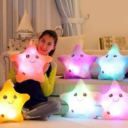 LED Luminous Light Up Smile Star Pillow Waist Cushion Glow P