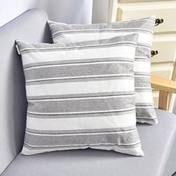 NATUS WEAVER Stripe Decorative Linen Oblong Throw Pillow Cas