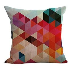 ChezMax Linen Blend Abstract Colorful Geometry Pattern Sofa