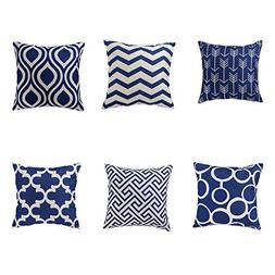 famibay Set of 6 Linen Burlap Pillow Covers Modern Double-Si