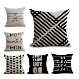 Linen Cotton Throw Pillow Case Cushion Covers Black And Whit