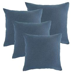 ALBAD Linen Pillow Covers 20 x 20 Inch Sets of 4 Blue Decora