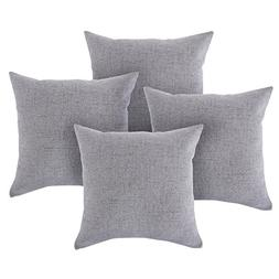 CHANODUG Linen Pillow Covers 18 x 18 Inch Sets of 4 Dark gra