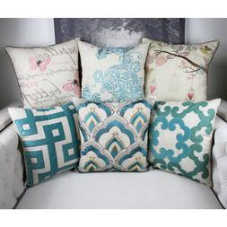 Homey Cozy Linen Throw Pillow Cover,Premium Embroidery Large