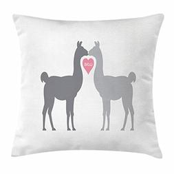 Ambesonne Llama Throw Pillow Cushion Cover, Two Animals in L