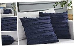 Longhui bedding Navy Blue Throw Pillow Covers for Couch Sofa