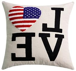Love Amercian Heart Flag Embroidery Patriotic Decorations De