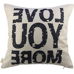 Love You More Square About Cotton Throw Pillow Cushion Cover