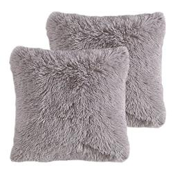 MIULEE Pack of 2 Luxury Faux Fur Throw Pillow Cover Deluxe D
