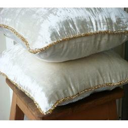 Luxury White Pillow Cover, Solid Color Beaded Cord Pillow Co