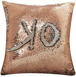 DECOSY Magic Reversible Sequin Pillow Case 18 by 18 inches 1