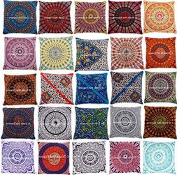 Set Of 10 Mandala Cushion Cover, 26x26 Euro Sham Pillow Case