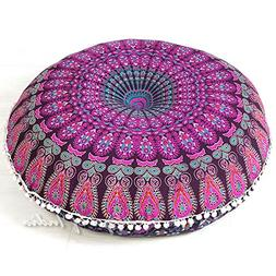 "Eyes of India - 32"" Purple Pink Mandala Large Floor Pillow C"