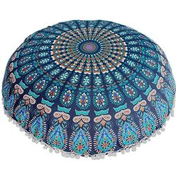 HotMoon New 4 Colors Large Mandala Floor Pillows Round Polye