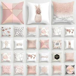 Marble Pink Rose Gold Throw Pillow Case Cushion Cover Sofa B