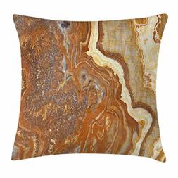 Ambesonne Marble Throw Pillow Cushion Cover, Unique Earthen