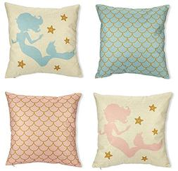 Mermaid Pillow Covers - 4-Pack Decorative Couch Throw Pillow