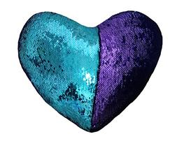 J-hong Mermaid Throw Pillow with Insert,Two-Color Heart Shap