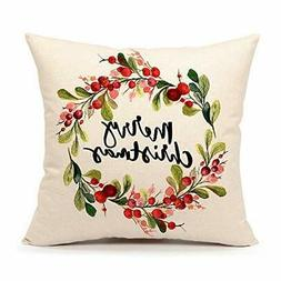 merry christmas berry wreath throw pillow cover