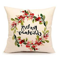 4TH Emotion Merry Christmas Berry Wreath Throw Pillow Cover