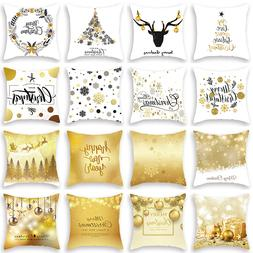 Merry Christmas Decorative Pillowcases Polyester Christmas T