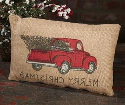 "MERRY CHRISTMAS Red Pickup Truck Burlap Pillow, 12"" x 8"", Co"