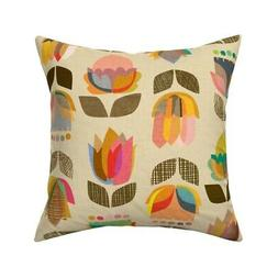 Mid Century Floral Home Kitchen Throw Pillow Cover w Optiona