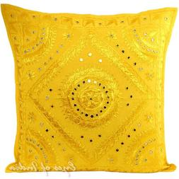 "EYES OF INDIA - 24"" Large Yellow Mirror Embroidered Decorati"