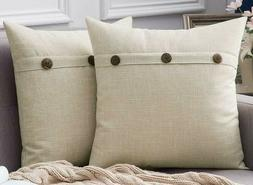 MIULEE Set of 2 Beige Decorative Throw Pillow Covers Triple