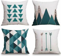 BLUETTEK Modern Simple Geometric Throw Pillow Covers,Square