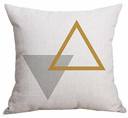 BLUETTEK Modern Simple Geometric Style Soft Linen Burlap Squ