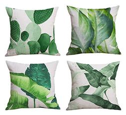 Modern Simple Plants Series Cotton & Linen Burlap Square Thr